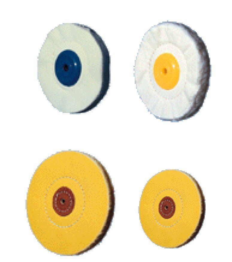 Discos de piel, algodón y borrego